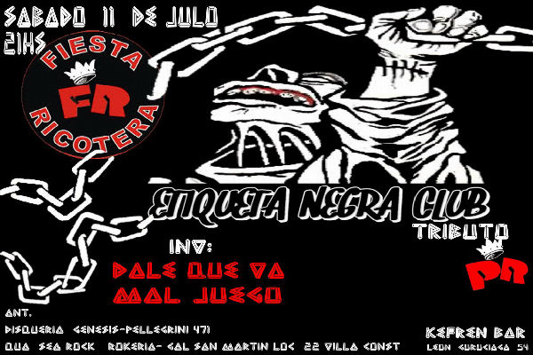 "Etiqueta Negra Club trae su ""fiesta ricotera"" a San Nicolás"