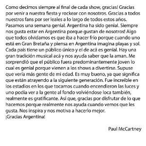Paul McCartney-Carta-Argentina