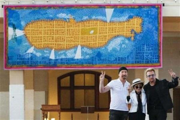 Nueva York rinde tributo a John Lennon con un tapiz del submarino amarillo